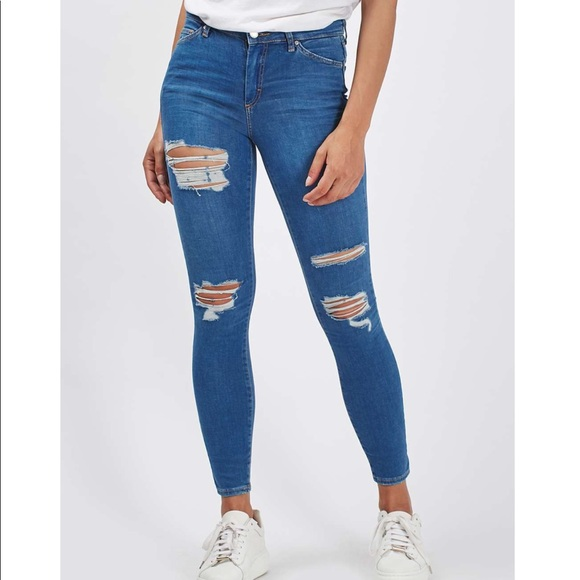 hot sale online best prices search for original Topshop Moto Leigh blue ripped jeans